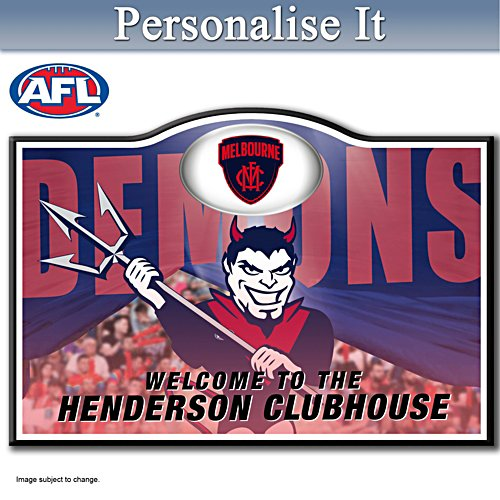Official AFL Melbourne Football Club Welcome Sign Personalised With Name