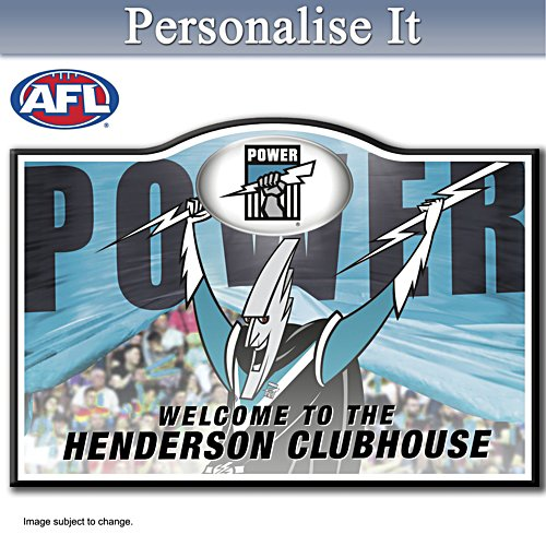 Official AFL Port Adelaide Football Club Welcome Sign Personalised With Name