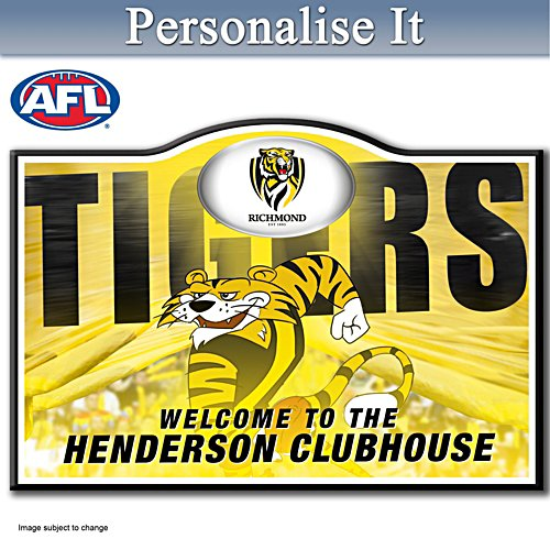 Official AFL Richmond Football Club Welcome Sign Personalised With Name