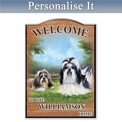 Puppy Love 'Shih Tzu' Personalised Welcome Sign