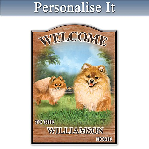 Puppy Love 'Pomeranian' Personalised Welcome Sign