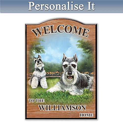 Puppy Love 'Schnauzer' Personalised Welcome Sign
