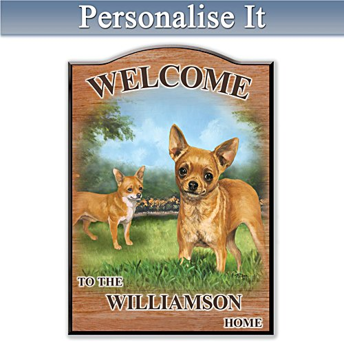 Puppy Love 'Chihuahua' Personalised Welcome Sign