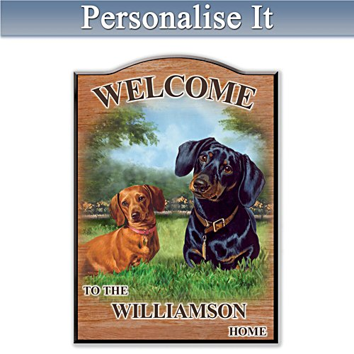 Puppy Love 'Dachshund' Personalised Welcome Sign