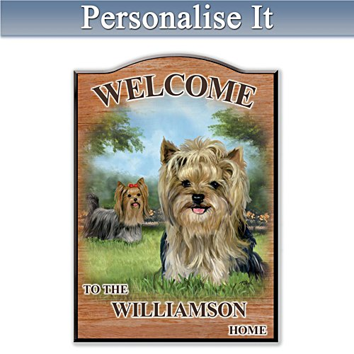 Puppy Love 'Yorkie' Personalised Welcome Sign