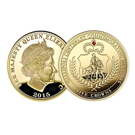 Gallipoli FIVE Crowns Commemorative Gold Coin