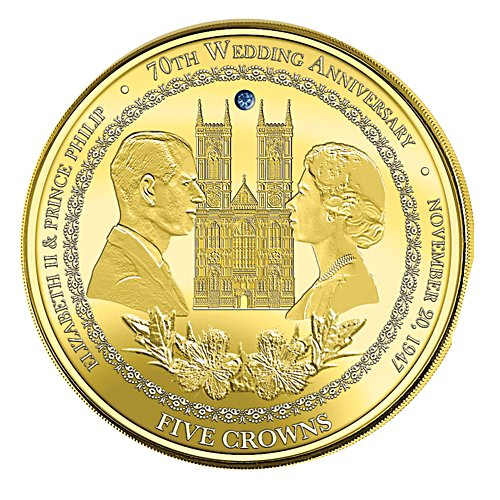 Queen Elizabeth II & Prince Philip Five Crown Coin