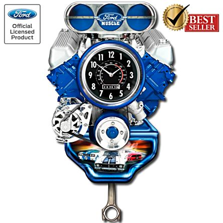 Ford Muscle Engine Wall Clock With Sound and Motion