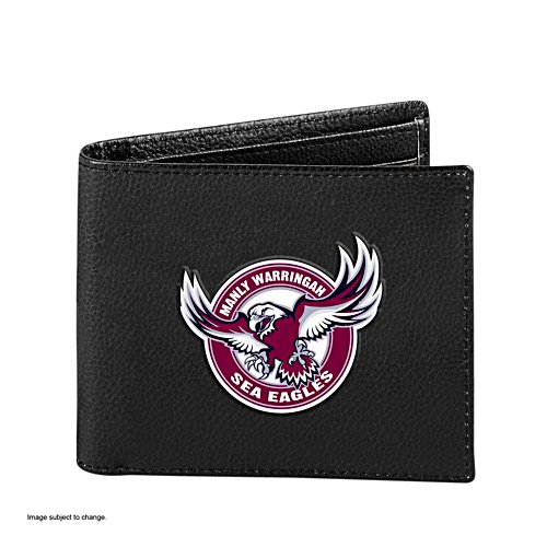 NRL Manly Sea Eagles RFID Blocking Leather Wallet