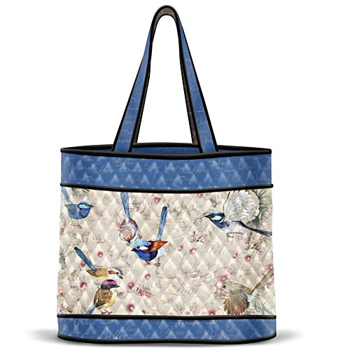 Fairy Wren Quilted Tote Bag