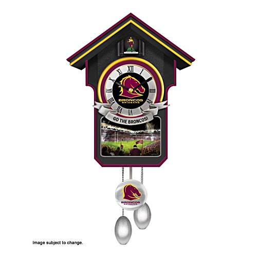 NRL Brisbane Broncos Wall Clock with Sound and Movement