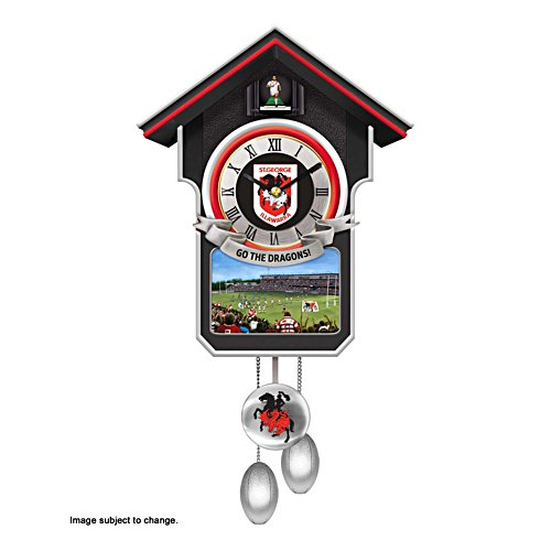 NRL St. George Dragons Wall Clock with Sound and Movement