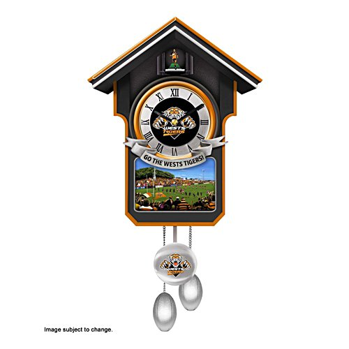 NRL Wests Tigers Wall Clock with Sound and Movement