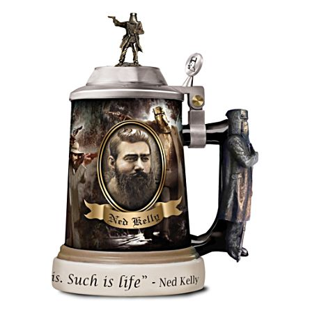 Ned Kelly Tankard with 3D Sculpture of Ned in Armour