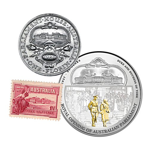 1927 Royal Opening of Parliament House Silver One Dollar, 1927 Silver Florin and Mint Condition 1927 Stamp Commemorative Set
