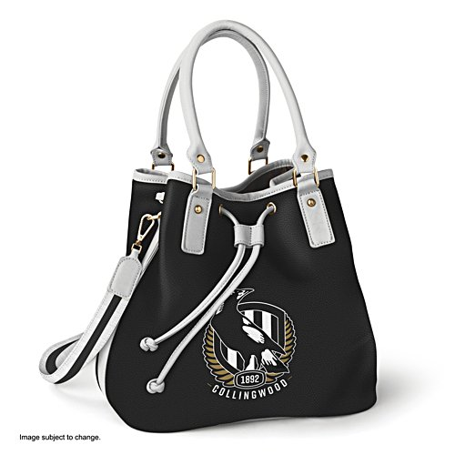 AFL Collingwood Magpies Women's Drawstring Bucket Bag with Shoulder Strap
