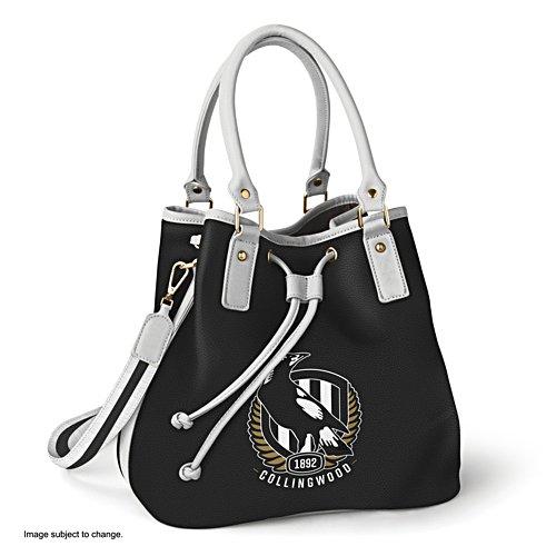 AFL Collingwood Magpies Women's Drawstring Bucket Bag with Shoulder Strap