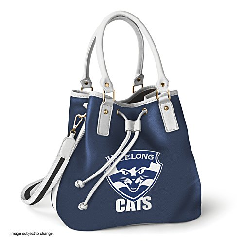 AFL Geelong Cats Women's Drawstring Bucket Bag with Shoulder Strap