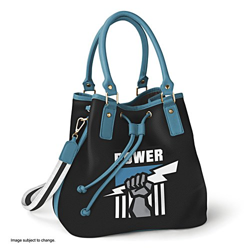 AFL Port Adelaide Power Women's Drawstring Bucket Bag with Shoulder Strap
