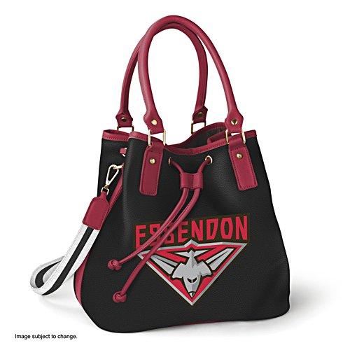 AFL Essendon Bombers Women's Drawstring Bucket Bag with Shoulder Strap