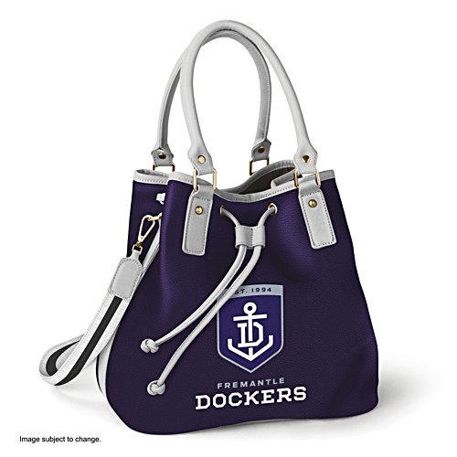 AFL Fremantle Dockers Women's Drawstring Bucket Bag with Shoulder Strap
