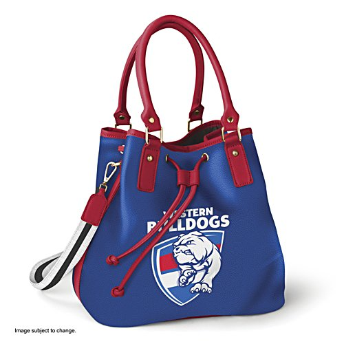AFL Western Bulldogs Women's Drawstring Bucket Bag with Shoulder Strap
