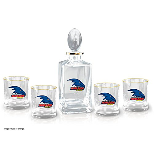 AFL Adelaide Crows Five-Piece Decanter and Glasses Set