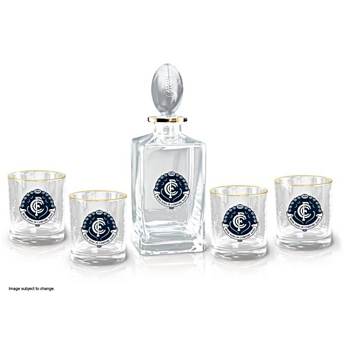 AFL Carlton Blues Five-Piece Decanter and Glasses Set