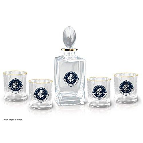 AFL Carlton Blues Five-Piece Decanter and Glasses Set