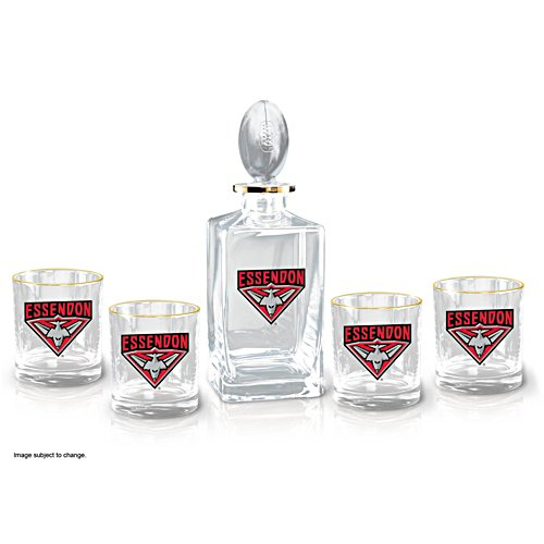 AFL Essendon Bombers Five-Piece Decanter and Glasses Set