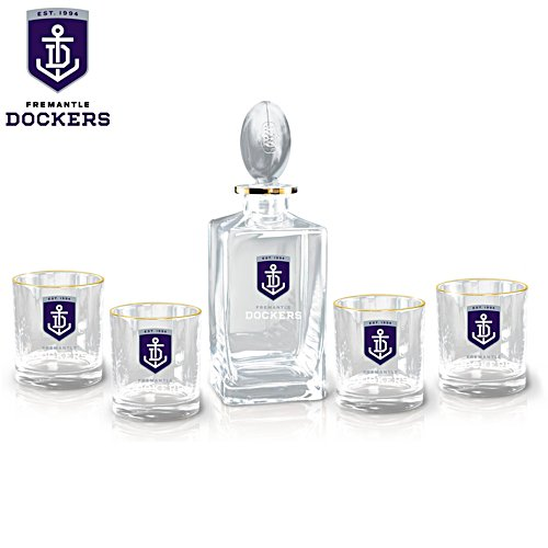 AFL Fremantle Dockers Five-Piece Decanter and Glasses Set