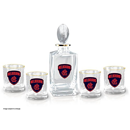 AFL Melbourne Demons Five-Piece Decanter and Glasses Set