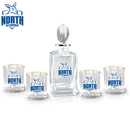 AFL North Melbourne Football Club Five-Piece Decanter and Glasses Set