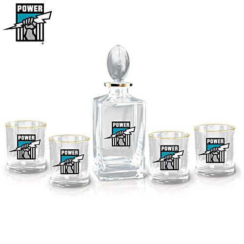 AFL Port Adelaide Power Five-Piece Decanter and Glasses Set