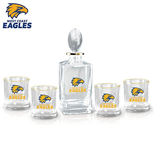 AFL West Coast Eagles Five-Piece Decanter and Glasses Set