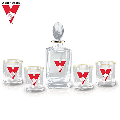AFL Sydney Swans Five-Piece Decanter and Glasses Set