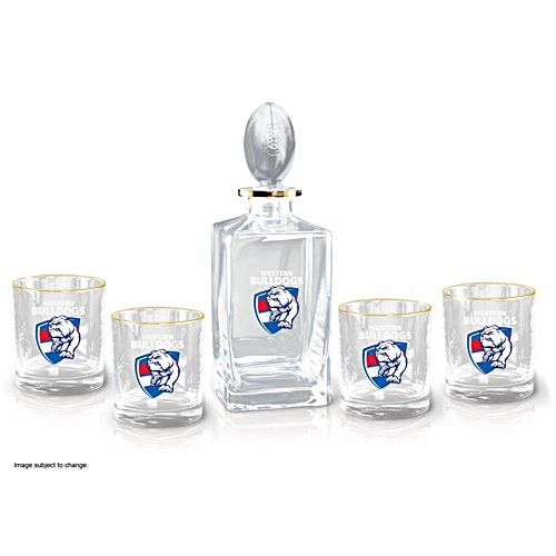 AFL Western Bulldogs Five-Piece Decanter and Glasses Set