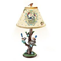 Fairy Wren Table Lamp with Art-Accented Lamp Shade