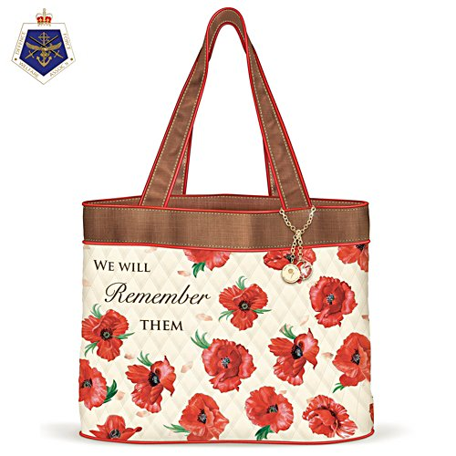 We Will Remember Them Poppy Quilted Tote Bag