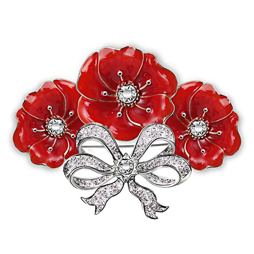Royal Bouquet Poppy Swarovski Crystal Brooch