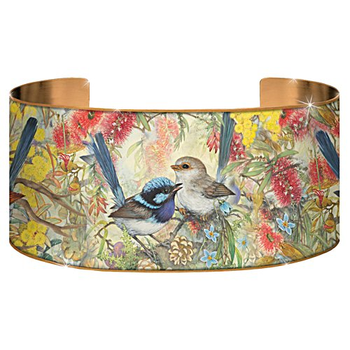 Fairy Wren Copper Art Bangle
