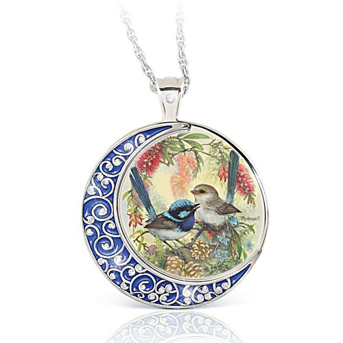Fairy Wren Glow-In-The-Dark Diamond Pendant