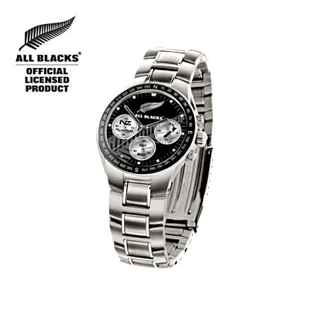 All Blacks Watch with Silver Fern and Club Emblem