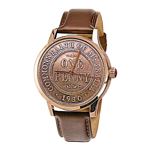 1930 Australian Penny Replica Men's Leather Watch
