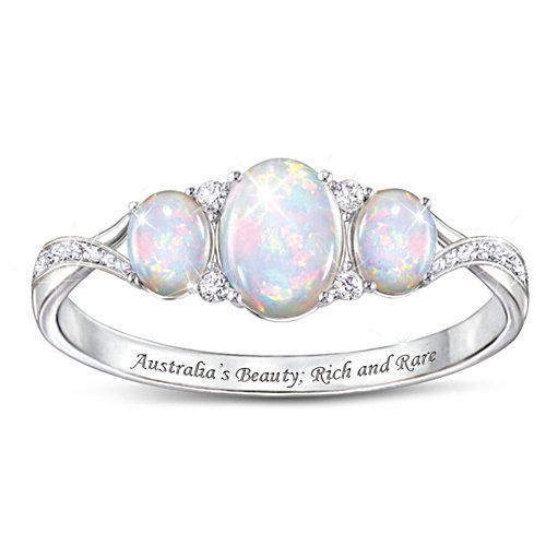 Australian White Opal Ladies' Ring