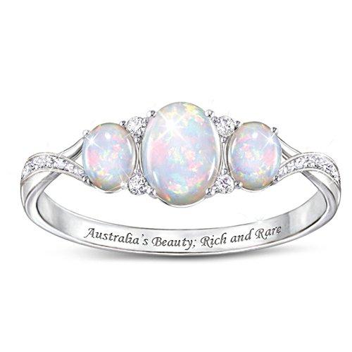 Australian White Opal Ladies' Ring