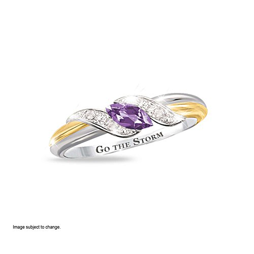 NRL Melbourne Storm Women's Diamonesk® Simulated Diamond Ring