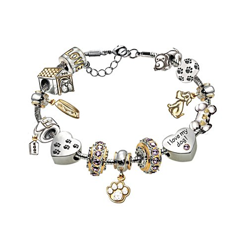 Puppy Love Charm Bracelet with Swarovski Crystals