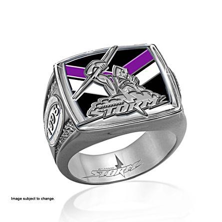 NRL Melbourne Storm Men's Sterling Silver Ring