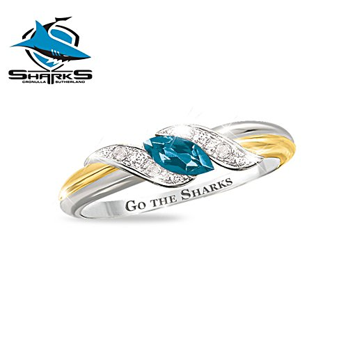 NRL Cronulla Sharks Women's Diamonesk® Simulated Diamond Ring